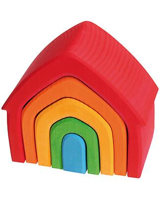 Grimm's Gioco da Impilare Casa Arcobaleno, Colorato - 5 pezzi Incastri In Legno