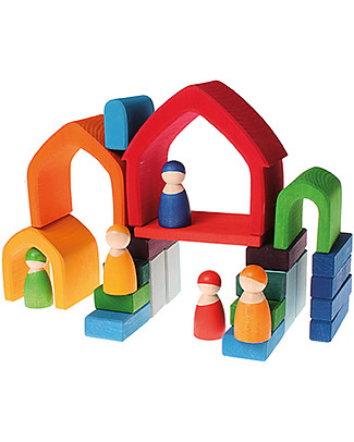 Grimm's Gioco da Impilare Casa Arcobaleno, Colorato Mensole