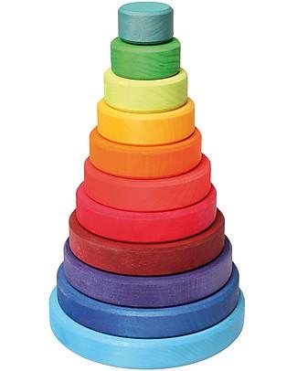 Grimm's Gioco da Impilare in Legno Cono d'Anelli  - Comprende 11 coloratissimi anelli! Incastri In Legno