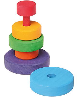 Grimm's Gioco da Impilare in Legno Piccolo Cono d'Anelli  - Comprende 6 coloratissimi anelli! Construzioni In Legno