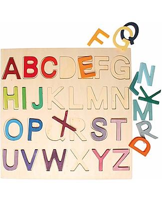 Grimm's Gioco da Tavola ABC, Impara l'Alfabeto - Con cornice Mattoncini da costruzione