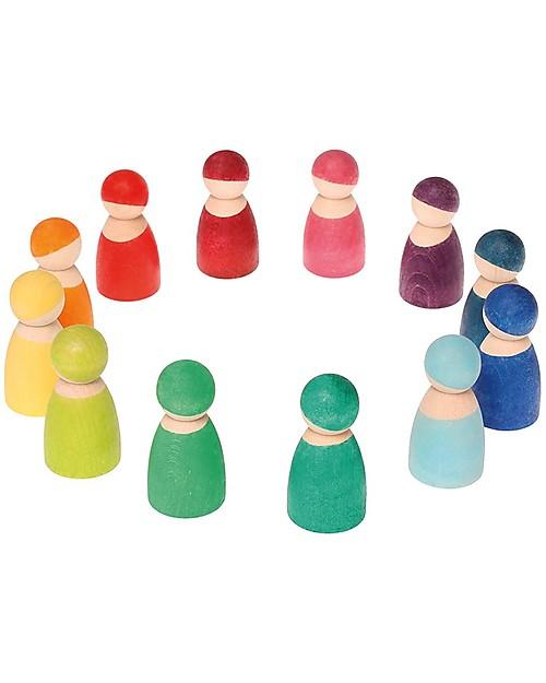 Grimm's Gioco Educativo Amici Arcobaleno - Comprende 12 simpatiche figurine in legno Figurine e Set da Gioco