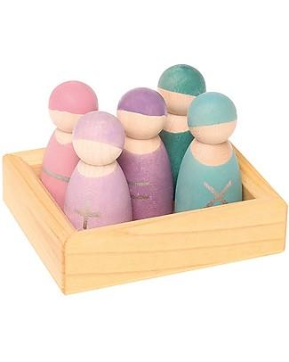 Grimm's Gioco Educativo Amici della Matematica - 5 simpatiche figurine in legno per imparare divertendosi Figurine e Set da Gioco