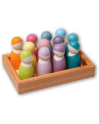 Grimm's Gioco Educativo Amici Pastello - Comprende 12 simpatiche figurine in legno Giochi Montessoriani
