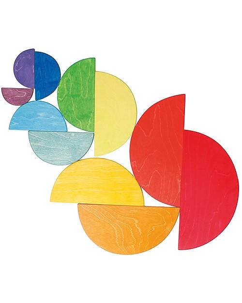 Grimm's Gioco in Legno Arcobaleno Semicircolare Grande, 11 Pezzi  Incastri In Legno