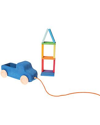 Grimm's Gioco in Legno da Tirare e Spingere Camioncino Blu - Con 10 mattoncini colorati! Giochi da Tirare e Spingere