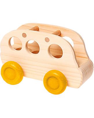 Grimm's Mini Bus per Bambole in Legno Naturale - Bellissimo! Giochi da Tirare e Spingere
