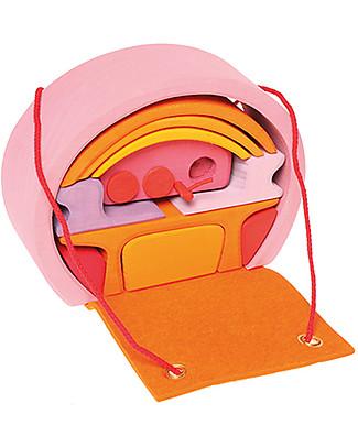 Grimm's Mini Casa per le Bambole Portatile, Rosa-Arancione Construzioni In Legno