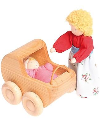 Grimm's Mini Passeggino per Bambole in Legno Naturale - Bellissimo! Figurine e Set da Gioco