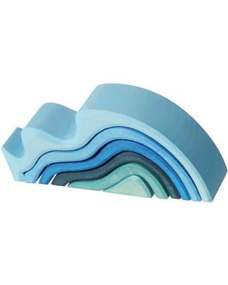 Grimm's Onde Oceano Piccolo, Sfumature Blu - 6 pezzi Construzioni In Legno