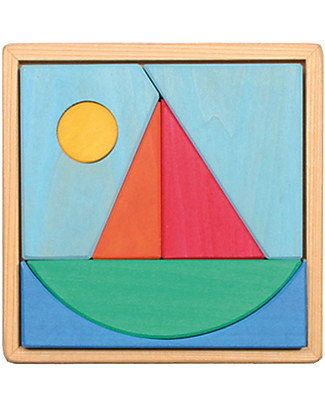 Grimm's Puzzle Barca a Vela, Colorato - 7 pezzi Incastri In Legno