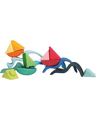 Grimm's Set 4 Barchette in Legno Componibili - Mille giochi divertenti!  Incastri In Legno