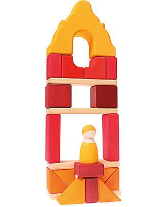 Grimm's Set Costruzioni in Legno Casa Cornice, Rossa - Comprende 23 mattoncini e un omino in legno! Construzioni In Legno