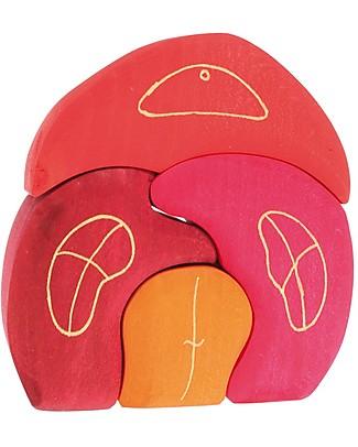 Grimm's Set Costruzioni in Legno Casetta dello Gnomo - 4 pezzi - Originale, divertente, educativo! Incastri In Legno