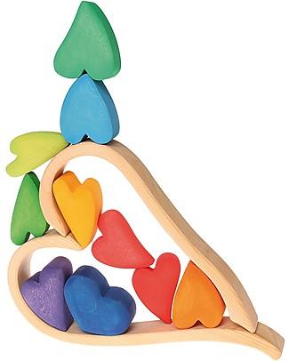 Grimm's Set Costruzioni in Legno Cuori Arcobaleno - 8 pezzi - Inventa mille sculture colorate! Construzioni In Legno