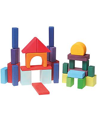 Grimm's Set Costruzioni in Legno Geo-Blocks - 30 pezzi - Inventa mille sculture colorate! Mattoncini da costruzione