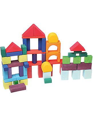 Grimm's Set Costruzioni in Legno Geo-Blocks - 60 pezzi - Inventa mille sculture colorate! Mattoncini da costruzione