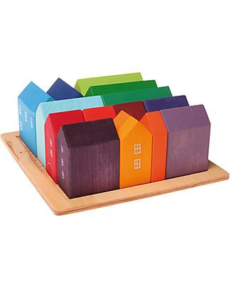 Grimm's Set Costruzioni in Legno Piccole Casette - 15 pezzi - Originale, divertente, educativo! Mattoncini da costruzione