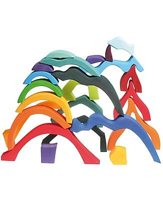 Grimm's Set Costruzioni in Legno Quattro Elementi - 23 pezzi - Originale, divertente, educativo! Incastri In Legno