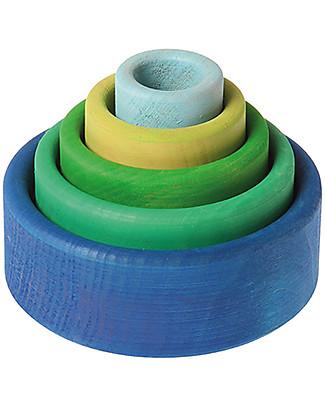 Grimm's Set Gioco Milleusi Ciotoline in Legno, Colorate (Esterno Blu) - 5 pezzi Construzioni In Legno