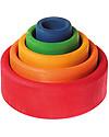 Grimm's Set Gioco Milleusi Ciotoline in Legno, Colorate (Esterno Rosso) - 5 pezzi Construzioni In Legno