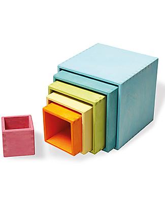 Grimm's Set Gioco Milleusi Quadrati in Legno, Colori Pastello - 6 Pazzi Giochi Montessoriani