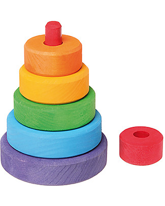 Grimm's Wooden Stacking Toy Small Conical Tower - Includes 6 colourful rings! Wooden Blocks & Construction Sets