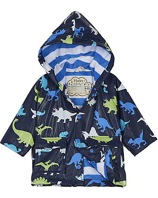 Hatley Impermeabile Baby Foderato Cambia Colore, Dinosauri - Senza PVC, Fodera morbida e calda Cappotti
