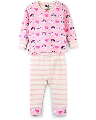 Hatley Pigiama Baby Maniche Lunghe con Applique, Unicorni e Arcobaleni - 100% cotone bio Pigiami