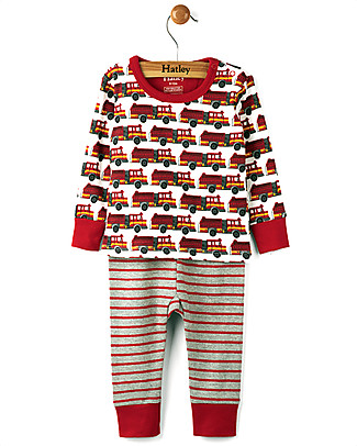 Hatley Pigiama Maniche Lunghe Baby, Pompieri - 100% cotone BIO Pigiami