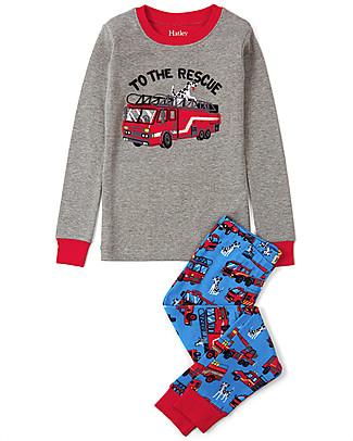 Hatley Pigiama Pantalone + Maglietta con Applique, Pompieri - 100% cotone BIO Pigiami