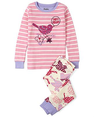 Hatley Pigiama Pantalone + Maglietta con Applique, Uccellini - 100% cotone BIO  Pigiami