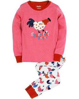 Hatley Slim Line Pj Set with Applique - Hens & Chicks Pyjamas