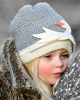 Hats Over Heels Cappello Bimba con Cigno Removibile, Grigio (6-12 mesi e 1-2 anni) - Lana Merino foderata in pile Cappelli
