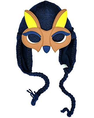 Hats Over Heels Cappello Invernale Canguro con Maschera Removibile, Blu Navy (0-6, 6-12 e 12-24 mesi) - 100% Lana Merino null