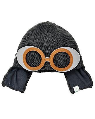 Hats Over Heels Cappello Invernale con Occhialini Space Removibili, Carbone (2-5 e 5-8 anni)– Lana merino foderata in pile null