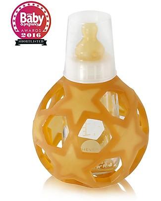 Hevea Biberon Star Ball 2 in 1 –  Biberon 150 ml in Vetro +  Gioco in Gomma Naturale – Bianco (Sicuro, atossico e perfetto per le manine!) Borracce Vetro