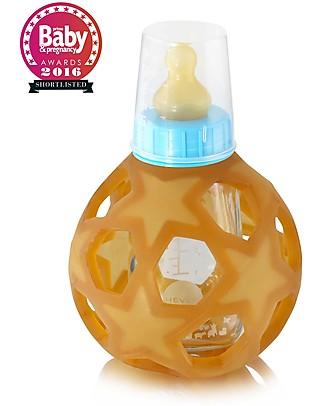 Hevea Biberon Star Ball 2 in 1 –  Biberon 150 ml in Vetro +  Gioco in Gomma Naturale – Blu (Sicuro, atossico e perfetto per le manine!) Borracce Vetro