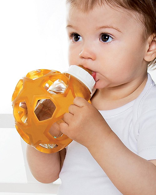 Hevea Biberon Star Ball 2 in 1 –  Biberon 150 ml in Vetro +  Gioco in Gomma Naturale – Rosa (Sicuro, atossico e perfetto per le manine!) Biberon In Vetro