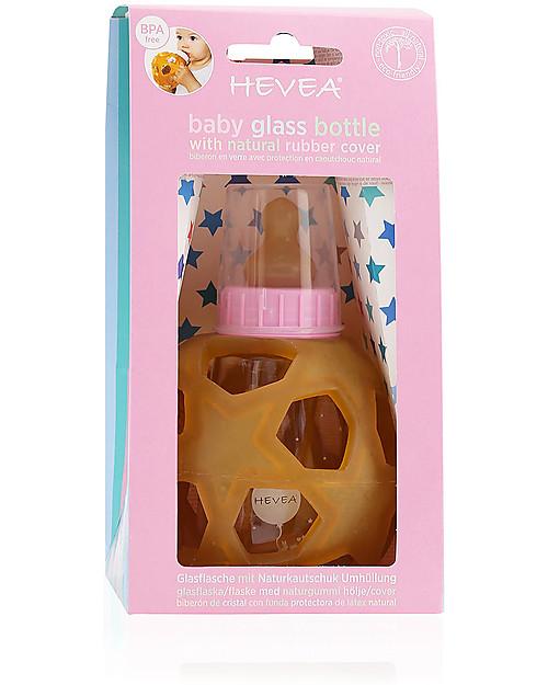Hevea Biberon Star Ball 2 in 1 –  Biberon 150 ml in Vetro +  Gioco in Gomma Naturale – Rosa (Sicuro, atossico e perfetto per le manine!) Borracce Vetro