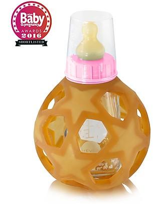Hevea Biberon Star Ball 2 in 1 -  Biberon 150 ml in Vetro +  Gioco in Gomma Naturale - Rosa (Sicuro, atossico e perfetto per le manine!) Biberon In Vetro