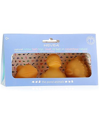 Hevea Pond Bath Toys (Natural, Fun & Safe!) - Pack of 3 Bath Toys