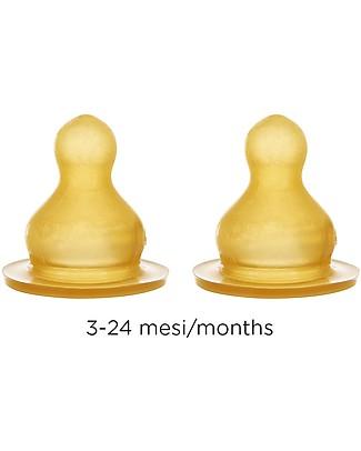 Hevea Set 2 Tettarelle - Flusso Medio - 3-24 mesi Biberon In Vetro