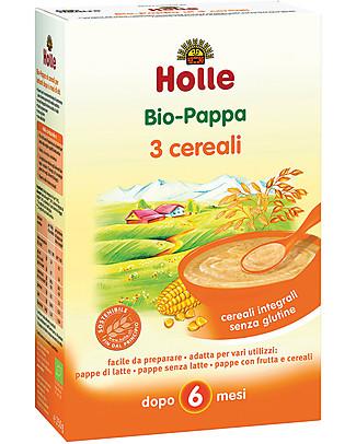 Holle Pappa ai 3 Cereali Integrali Bio, 250 gr – Da 6 mesi in su Pappe