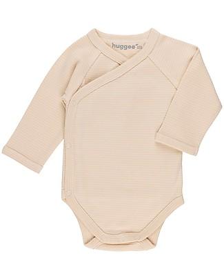 Huggee Kimono Body con Apertura Frontale, Righe Natural e Nude - 100% Cotone Bio Body Manica Lunga