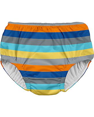 I Play Costume Contenitivo Bimbo, Grigio/Righe – Lavabile, perfetto per il mare! Costumi a Pantaloncino