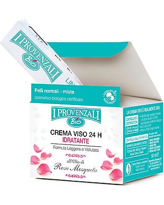 I Provenzali Crema Viso 24H Idratante, Linea Biologica Rosa Mosqueta, 50 ml - Pelli normali e miste Creme e Olii
