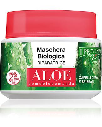 I Provenzali Maschera Biologica Riparatrice all'Aloe, 200 ml – Per capelli deboli e sfibrati Bagno Doccia Shampoo