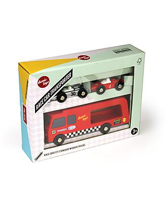 Ikonic Toys Camion Trasporta Macchinine da Corsa In Legno– Con 2 macchine incluse Macchine e Trenini  in Legno