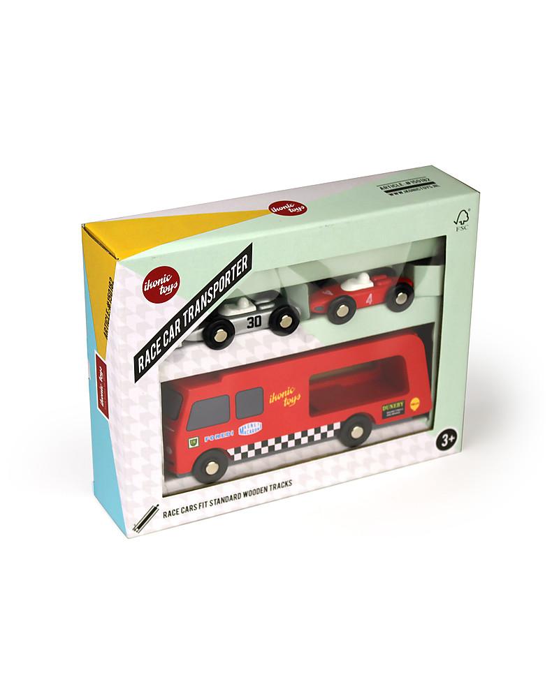 Ikonic Toys Camion Trasporta Macchinine da Corsa In Legno– Con 2 ...